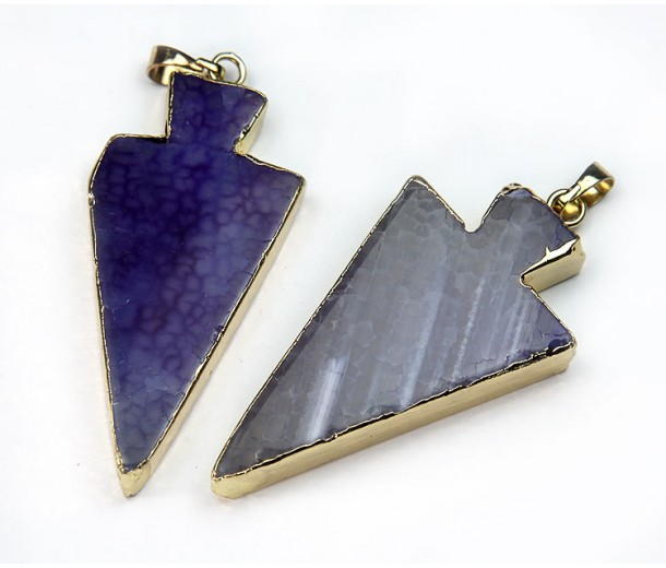 50mm Agate Arrowhead Pendant, Purple