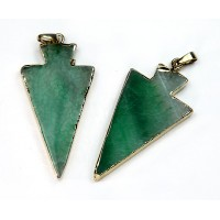 50mm Agate Arrowhead Pendant, Green