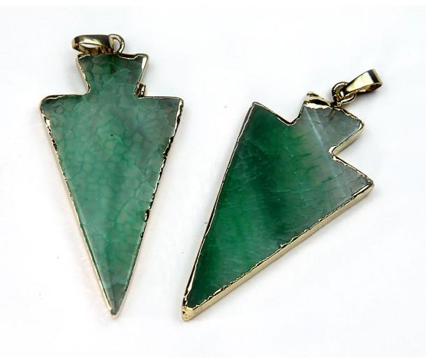 50mm Agate Arrowhead Pendant, Green
