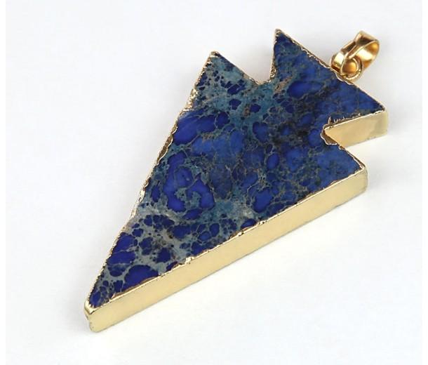 30mm Arrowhead Pendant, Blue Impression Jasper