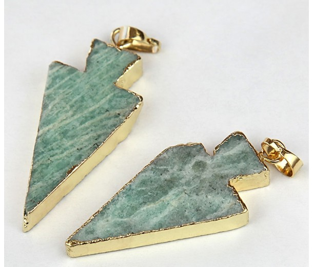 30mm Arrowhead Pendant, Russian Amazonite