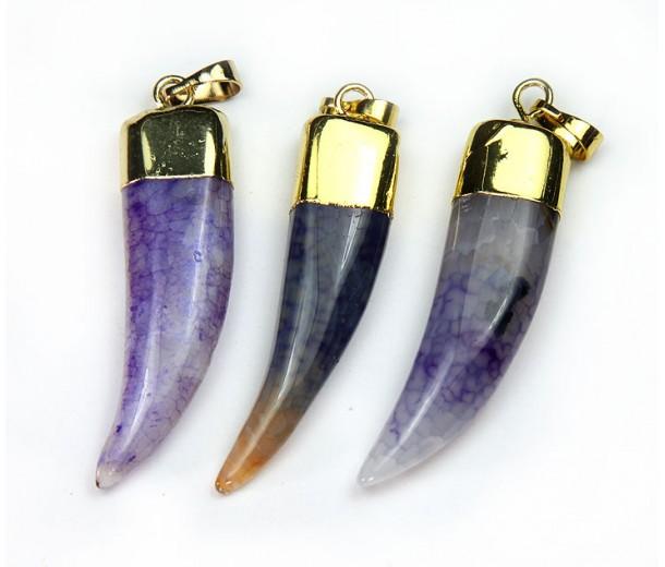 40mm Agate Tusk Pendant, Purple