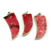 50mm Horn Pendant, Red Impression Jasper