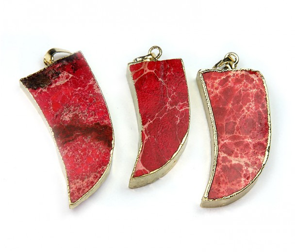 50mm Horn Pendant, Red Impression Jasper