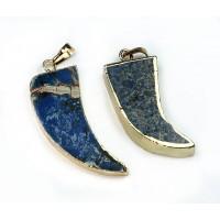 50mm Horn Pendant, Dark Blue Impression Jasper