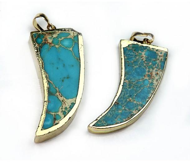 50mm Horn Pendant, Cyan Blue Impression Jasper