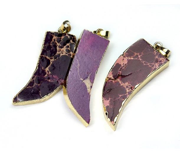 50mm Horn Pendant, Purple Impression Jasper
