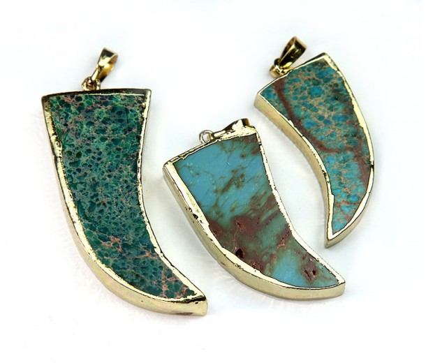 50mm Horn Pendant, Teal Impression Jasper