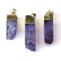 35-50mm Agate Square Column Pendant, Purple