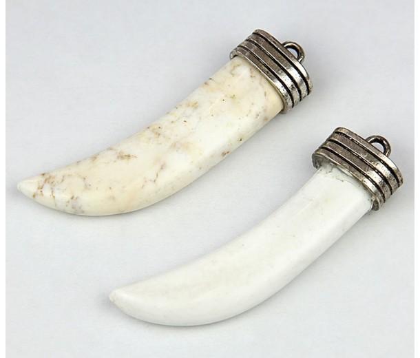 50mm Horn Pendant, White Magnesite