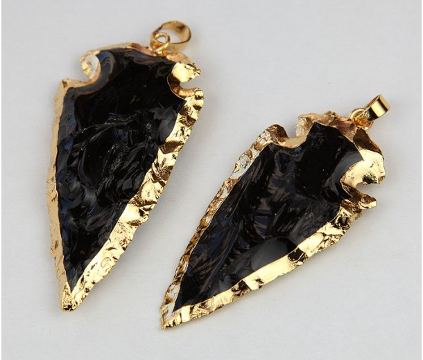 Arrowhead Pendant, Black Agate, 20-45mm