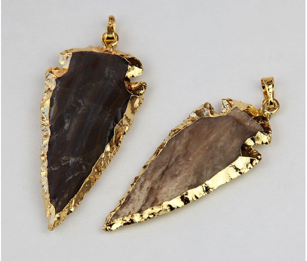 Arrowhead Pendant, Brown, 20-45mm