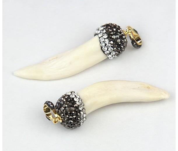 50mm Rhinestone Tooth Pendant, Bone