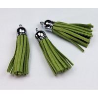 60mm Tassel Pendant, Green, Faux Suede