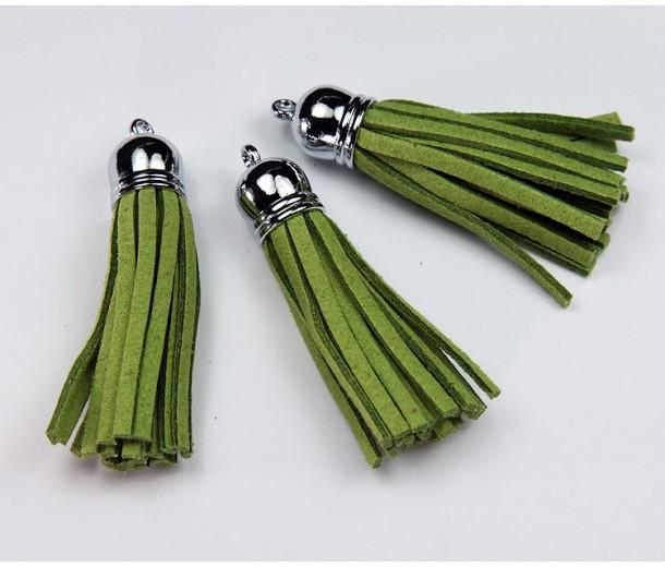 60mm Tassel Pendant, Green, Faux Suede