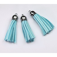 60mm Tassel Pendant, Light Blue, Faux Suede