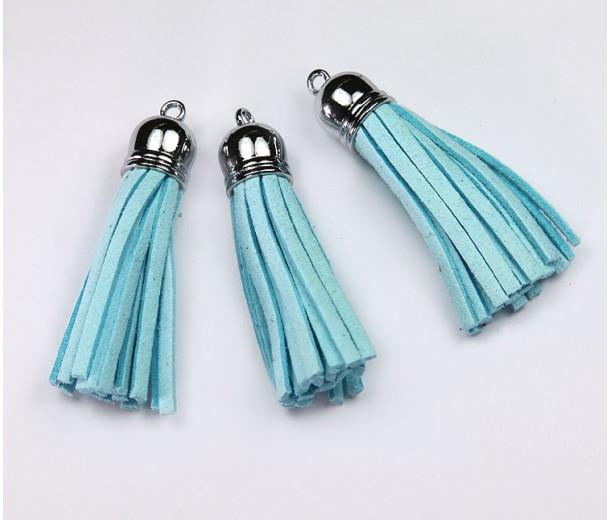 60mm Tassel Pendant, Light Blue, Faux Suede