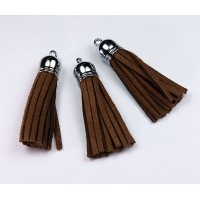 60mm Tassel Pendant, Brown, Faux Suede