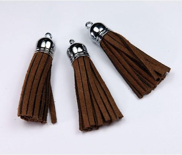 60mm Tassel Pendant, Brown, Faux Suede