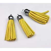 60mm Tassel Pendant, Yellow, Faux Suede