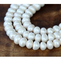 Freshwater Pearls, White, 6x8mm Button