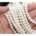 Freshwater Pearls, White, 5x7mm Potato