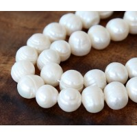 Freshwater Pearls, White, 8x10mm Potato