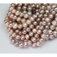 Freshwater Pearls, Mauve, 6x7mm Potato
