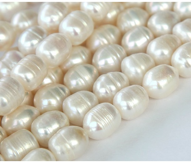 Freshwater Pearls, White, 10x14mm Rice
