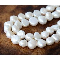 Freshwater Pearls, White, 9mm Flat-Sided Potato