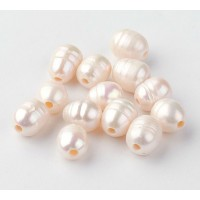 Large Hole Freshwater Pearls, White, 7-10mm Rice, Pack of 10
