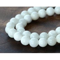Shell Beads, White, 8mm Round