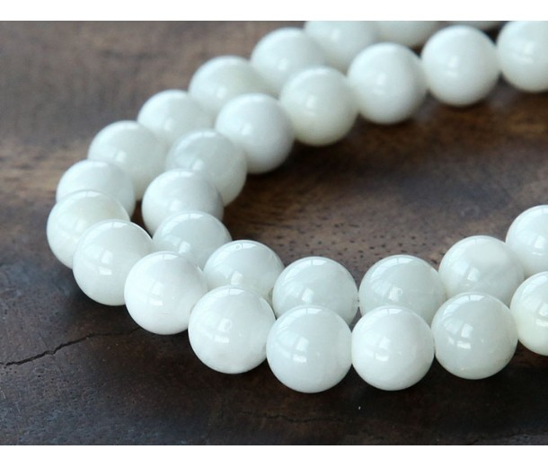 Shell Beads, White, 10mm Round
