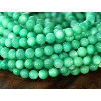 Shell Beads, Green, 5mm Round