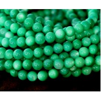Shell Beads, Grass Green, 6mm Round