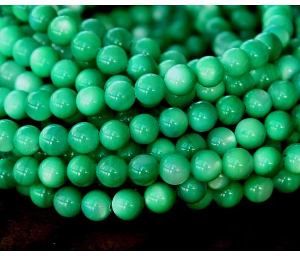 Shell Beads, Grass Green, 6mm Round