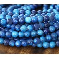 Shell Beads, Dark Blue, 6mm Round