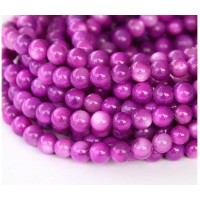 Shell Beads, Orchid Pink, 6mm Round