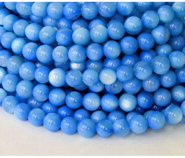 Shell Beads, Sky Blue, 5mm Round
