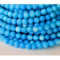 Shell Beads, Medium Blue, 6mm Round