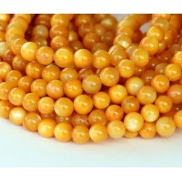 Shell Beads, Yellow, 5mm Round