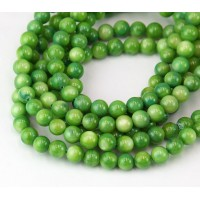Shell Beads, Apple Green, 6mm Round