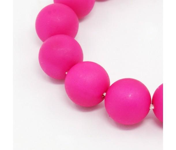 Matte Shell Pearls, Fuchsia, 8mm Round