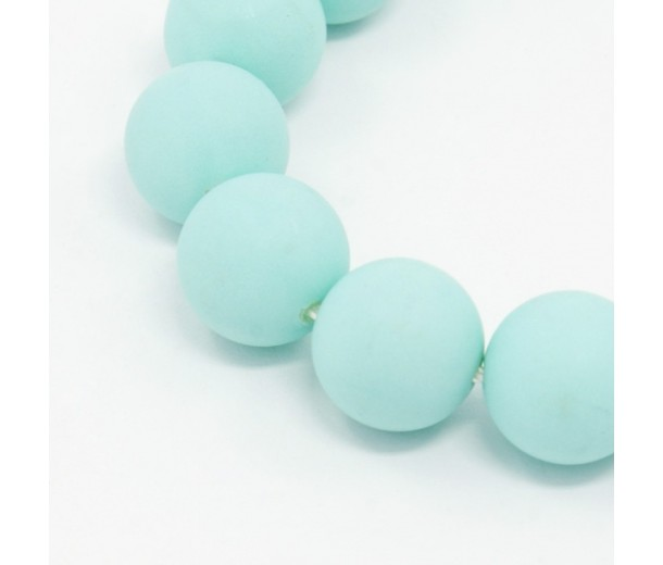 Matte Shell Pearls, Opaque Light Teal, 10mm Round