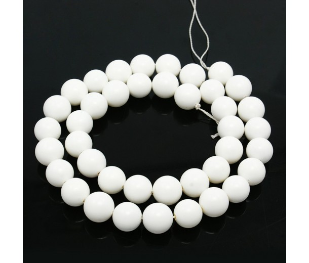 Matte Shell Pearls, White, 8mm Round