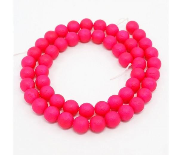 Matte Shell Pearls, Hot Pink, 8mm Round