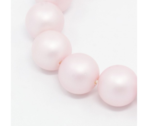 Matte Shell Pearls, Pink, 6mm Round