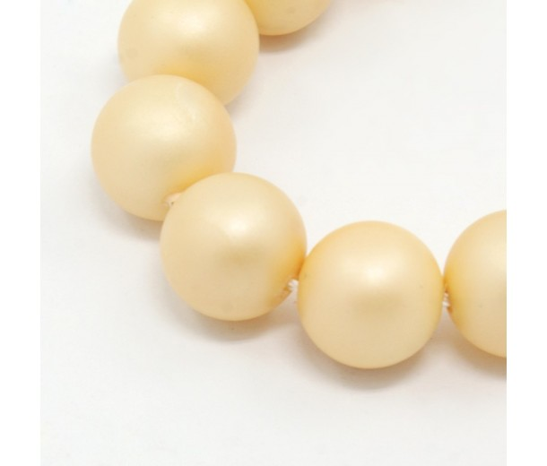 Matte Shell Pearls, Cream, 6mm Round