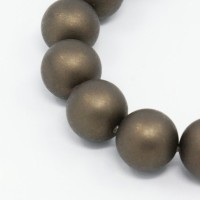 Matte Shell Pearls, Coffee Brown, 6mm Round