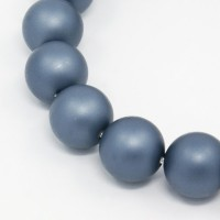 Matte Shell Pearls, Steel Blue, 8mm Round